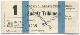 Schweiz - Zürich - Stadion Letzigrund - Eintrittskarte - Zusatz-Tribüne Rasensitzplatz - Eintrittskarten