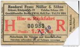 Deutschland - Berlin - Fahrschein Ticket - Reederei Franz Müller & Söhne Erkner - Hin- Und Rückfahrt Preis 1.75 RM - - Europa