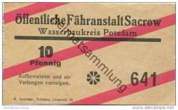 Deutschland - Öffentliche Fähranstalt Sacrow - Wasserbaukreis Potsdam - Ticket Fahrschein 10Pfennig - Europa