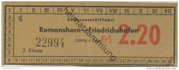 Schweiz - Bodenseeschiffahrt - Romanshorn - Friedrichshafen - Ticket - Fahrschein FrS 2.20 - Europa
