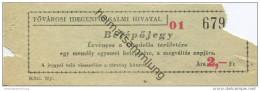 Ungarn - Fovarosi Idegenforgalmi Hivatal - Belepojegy - Ervenyes A Citadella Területere - Ticket Eintrittskarte - Eintrittskarten