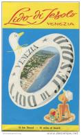 Jesolo 1963 - Faltblatt Mit 10 Abbildungen - Reliefkarte Oberbacher - Pianta Topografica - Italia