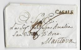 1815 - LETTRE De CASALE (PIEMONT) Avec MARQUE LINEAIRE FRANCAISE SANS NUMERO 1 AN APRES CHUTE DE L'EMPIRE => MANTOVA - 1792-1815: Conquered Departments