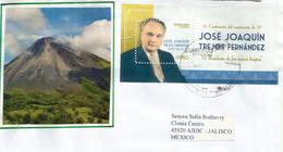 Pr.José Joaquin Trejos (el Presidente  De Las Manos Limpias), Bloc-feuillet Sur Lettre Costa-Rica Adressée Au Mexique - Costa Rica