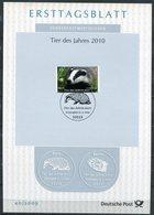 """Germany,Bund 2009 ETB 40/2009 Mi.Nr.2767 """"Tier Des Jahres-Dachs"""" 1 Big ETB - Nager"""