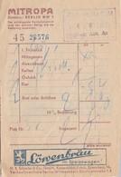 """BERLIN,,,,11/ 06/ 1939,,,,,FACTURE  RESTAURANT   """" MITROPA """"  ,,,,  LOVENBRAU , Voir Le 2e Scan - Factures"""
