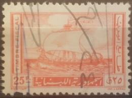 Y12 Lebanon 1961 Fiscal Stamp Phoenician Ship Design 25p Vermilion - Lebanon
