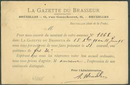 BELGIUM Carte Affr. 5 Centimes Obl. Sc BRUXELLES (NORD) 1  Du 14 Janvier 1895 Vers Jumet - Verso : Repiquage LA GAZETTE - Bières