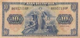 Bank Deutscher Länder, 10 Mark Ro.258a (1949) - Serie R/P - Gebraucht - [ 7] 1949-… : FRG - Fed. Rep. Of Germany