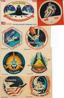 COLECCION COMPLETA DE 8 ADHESIVOS DE LOS ESCUDOS OFICIALES DE LA NASA - COLUMBIA - CHALLENGER - GARBO - Espacio