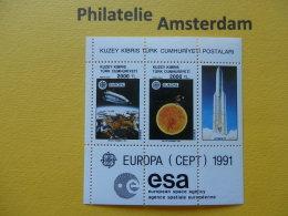 Turkish Cyprus 1991, EUROPA CEPT / SPACE ESA SPACESHUTTLE: Mi 303-04, Bl. 9, ** - 1991