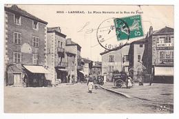 43 Langeac N°2012 La Place Navarin Et Rue Du Pont En 1913 Café Du Boulevard Bijouterie Dursapt Horlogerie Attelage - Langeac