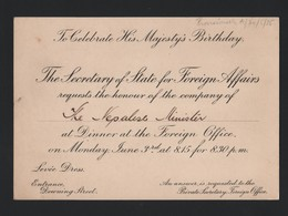 FOREIGN OFFICE KING GEORGE FIFTH BIRTHDAY ANTHONY EDEN NEPAL 1935 - Tickets - Vouchers