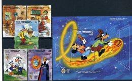 A26793)Disney: Malediven 1148 - 1151** + 1153** + Bl 114** - Disney