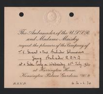 RUSSIAN AMBASSADOR MAISKY 1934 NEPAL MINISTER - Tickets - Vouchers