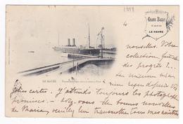 76 Le Havre En 1899 Avec PUB Grand Bazar 121 Rue De Paris Navire Transatlantique Entrant Au Port VOIR DOS Non Séparé - Le Havre
