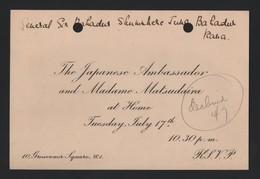 JAPANESE AMBASSADOR MATSUDAIRA PRINCESS CHICHIBU NEPAL IMPERIAL HOUSEHOLD 1934 - Tickets - Vouchers