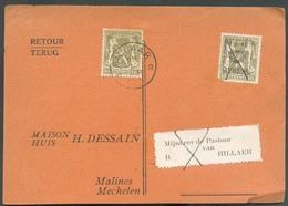 PREO 10c. 1-I-46/31-XII-46 Annulé à La Plume Sur Carte Vers Rillaar Puis Renvoi Aavec Adjonction D'un Timbre 10c. Obl. S - Postmarks With Stars