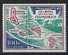 """Comores Aerien YT 36 (PA) """" Carte De L'archipel """" 1971 Neuf** - Comores (1950-1975)"""