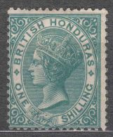 British Honduras 1877 Sc#12 One Schilling Green Perf. 14, Mint Hinged - Honduras Britannico (...-1970)