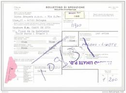 Bulletin D'Expédition - Italie- Cachets Et Vignette BOLOGNA - 1981 - Griffe MILANO LINATE P.D. - Tampon DITTA DRAPERS - 1946-.. République