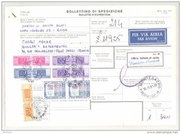Bulletin D'Expédition - Italie - Cachets MONTESACRO - 1981 - Vignettes Ufficio Italiano Di Uscita FIUMICINO AEROPORTE - 1946-.. République