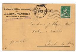 A.LABIAU-VAN ROEY Muzeumstraat, 6 , Antwerpen;Groothandel In KOLENvan Allen Oorsprong.Verkoopkaart 1913 - Antwerpen