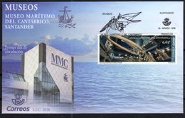 SPAIN, 2018, MUSEUMS,  MARITIME MUSEUM, WHALES, WHALE SKELETON, 1v ON FDC - History
