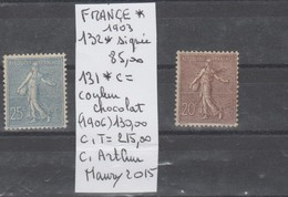 TIMBRE DE FRANCE VARIETE NEUF* Nr 132 * SIGNEE 85 € - 131*c = COULEUR CHOCOLAT 130 €  COTE 215 € - Errors & Oddities