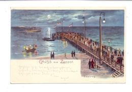 DANZIG - ZOPPOT, Seesteg, Litho, 1902, Rand Beschnitten - Danzig