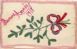 CARTE BRODEE BONNE ANNEE 1918 HOUX - Ricamate
