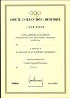JUAN ANTONIO SAMARANCH - CERTIFICATE - INTERNATIONAL OLYMPIC COMMITTEE -30.04.1990.- (LC2-13) - Diplomi E Pagelle
