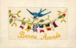 CARTE BRODEE BONNE ANNEE GUIRLANDE DE DRAPEAUX HIRONDELLE - Brodées
