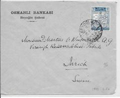 TURQUIE - 1941 - ENVELOPPE De BEYOGLU => ZÜRICH (SUISSE) - Lettres & Documents