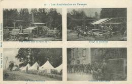 Guerre Mondiale 14-18 : Les Américains En France-Scierie Dans La Foret, Sciage De Traverse, Camp Et Infanterie Américain - Guerre 1914-18