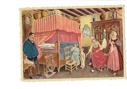 Cpm Illustration Folklore Bourgogne Chambre Homme Femme Enfant Fillette Poupée Berceau Bébé Jouet Rouet Panier Horloge - People