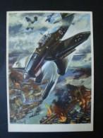 Propaganda - Künstlerkarte, Kampfflugzeuge Greifen An, Nach Mundorff Chemnitz, Ungelaufen - Weltkrieg 1939-45