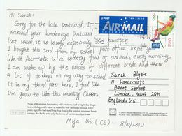 AUSTRALIA COVER Stamps 2012 OLYMPIC POLE VAULT  (postcard Wildlife Dingo Koala Bear Frog) To GB Olympics Games Sport - 2010-... Elizabeth II