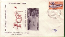 FDC FILAGRANO OLIMPIADI ROMA 1960 I VINCITORI:GINNASTICA   Volteggio Al Cavallo   ONO. - Italia