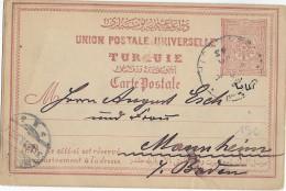 TURQUIE - 1893 - CARTE ENTIER => MANNHEIM (ALLEMAGNE) - 1858-1921 Empire Ottoman