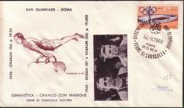 FDC FILAGRANO OLIMPIADI ROMA 1960 I VINCITORI:GINNASTICA   Cavallo Con Maniglie   SHAKLIN E EKMAN. - Italië