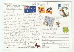 2012 AUSTRALIA COVER Stamps $1.20 KOOKABURRA Bird Birds To GB  Shark Cat Label (postcard Queensland Beaches) - 2010-... Elizabeth II