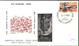 FDC FILAGRANO OLIMPIADI ROMA 1960 I VINCITORI:GINNASTICA   Corpo Libero Uomini    AIHARA. - Italia