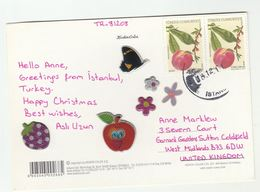 2012 TURKEY COVER Multi  PEAR FRUIT Stamps With Embossed Labels Fruit Butterfly Insect  (postcard Christmas) - 1921-... Republic