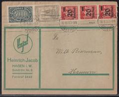 DR Brief Mif Minr.256,262,3x 280 Hagen 10.9.23 Geprüft - Deutschland