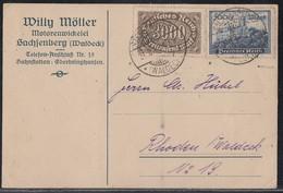 DR Karte Mif Minr.254c, 261a Geprüft Sachsenberg (Waldeck) 31.8.23 - Deutschland