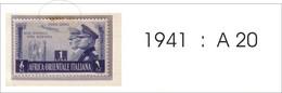 A.O.I. 1941 POSTA AEREA FRATELLANZA N. 20 NUOVO CON LINGUELLA. - Africa Orientale Italiana