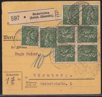 DR Paketkarte Mif Minr.4x 142,159,8x 187 Niederfrohna 28.6.22 - Deutschland