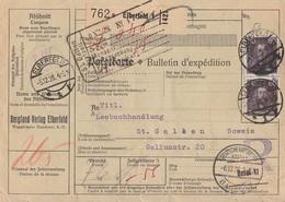 DR Paketkarte Mif Minr.392,3x 397,411 Elberfeld 5.12.28 Gel. In Schweiz - Deutschland