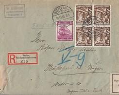 DR R-Brief Mif Minr.583,4x 598 Berlin 18.11.35 Gel. Nach Ungarn Devisenkonrolle - Briefe U. Dokumente
